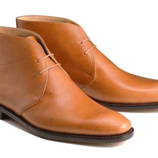 Orange Desert Boot Goodyear stitching handmade