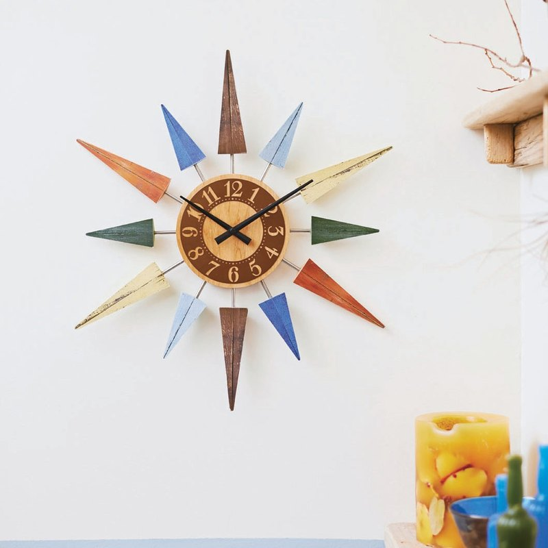 L'est- slightly old sense six-pointed star silent clock wall clock