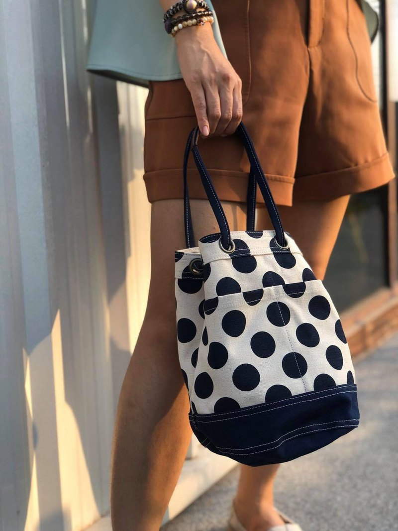 Mini Navy Polka Dot Canvas Bucket Bag with strap /Leather Handles /Daily use