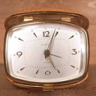 Old bone EUROPA mechanical travel alarm clock VINTAGE