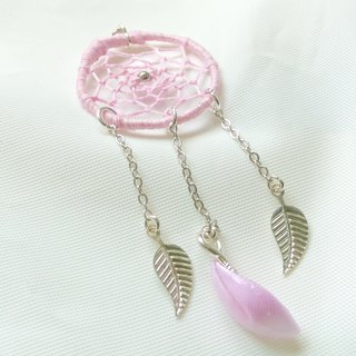 Pink solidify ribbon flower petal dreamcatcher necklace