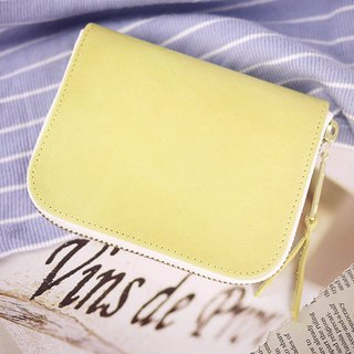 Lemon yellow. Classic leather short clip / wallet / wallet / purse
