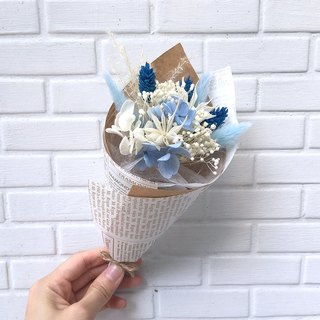 Eight-color party bouquet - pearl blue - mixed dry flowers / wedding small objects / graduation bouquet