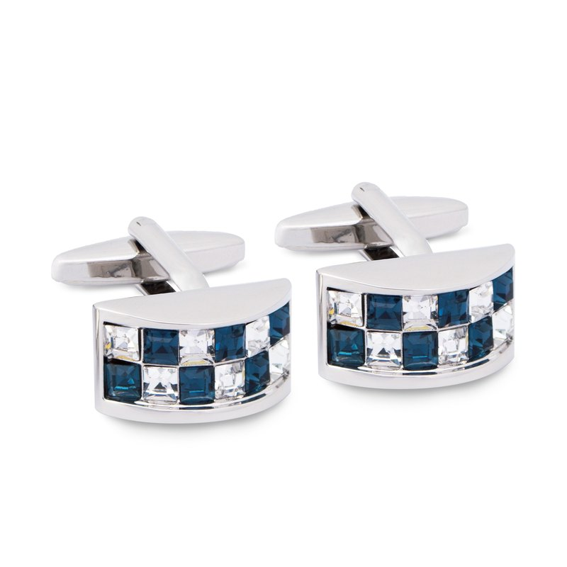 D Shape Crystal Cufflinks in Blue and Clear