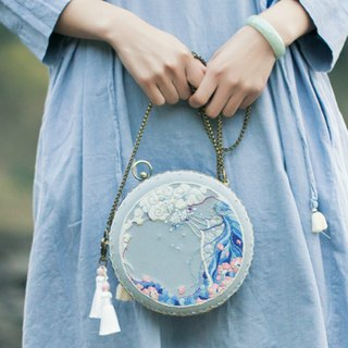 Nuwa 娲天 | Embroidered gold bag DIY material package hand-embroidered fairy wind round shoulder bag