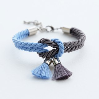 Matte cornflower blue & Charcoal knot bracelet with tassels