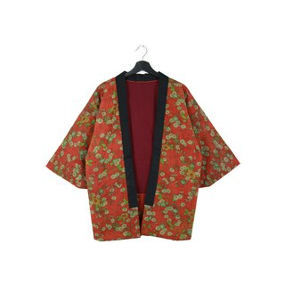 Back to Green :: 袢 day Japan home cotton jacket shop inside the brick red flower illustrations // Unisex wear // vintage (BT-28)