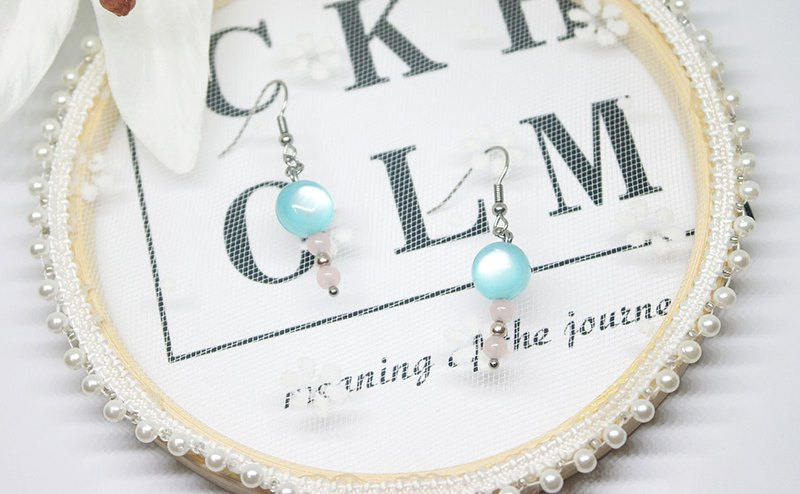 Stainless Steel Mix Silver X Natural Stone Hook Earrings <Fantasy Dreamland> => Limited*1