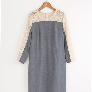i'm lace stitching denim dress