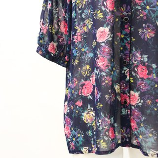 Vintage Japanese Elegant Flower Floral Dark Blue Short Sleeve Vintage Shirt Vintage Blouse