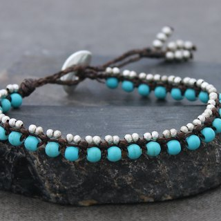 Turquoise Beaded Bracelets Green Stone Woven Silver Petite Cute