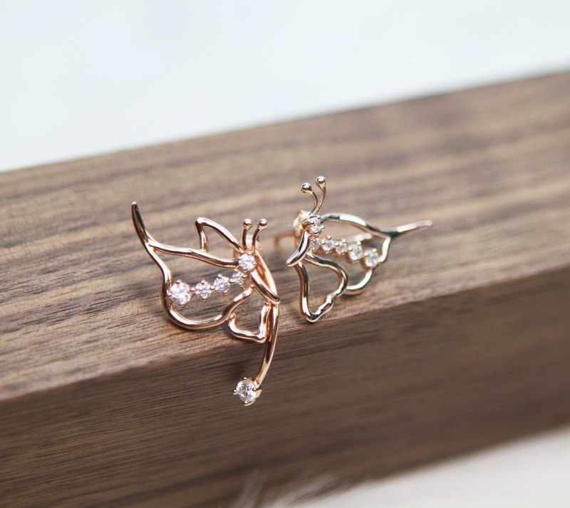 Butterflymoon series limited edition personality boutique special sterling silver plated 18k gold butterfly ear clip