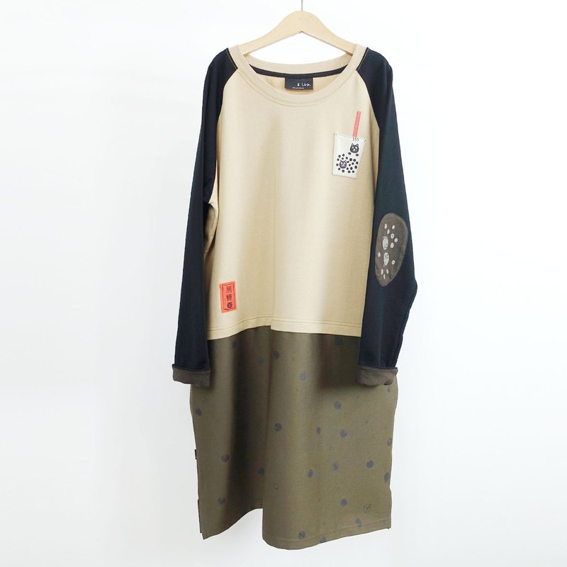 [Black sugar hot pearl milk tea] stitching skirt pocket dress
