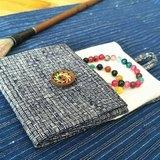手織老布 夾棉零錢袋 首飾袋 月事袋 複古 天然植物染-黑白格子色