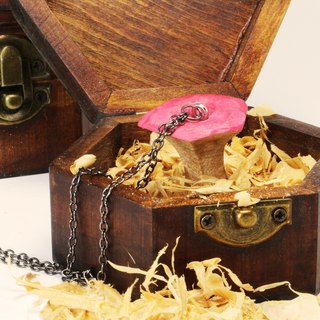 Wooden eating apple necklace [wooden box style]--woodcut--handmade - hand made [can pick color]