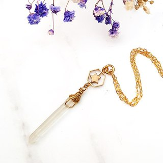 <Pure Starry> Frosted White Crystal Raw Stone Brass Plated 16K Gold Necklace Original Stone Hand Creates Minimalism