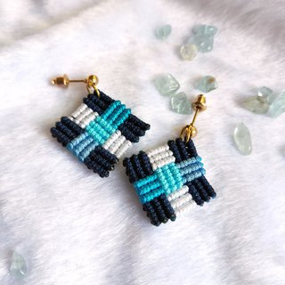 E024-Hand-woven mosaic earrings blue inlaid small square