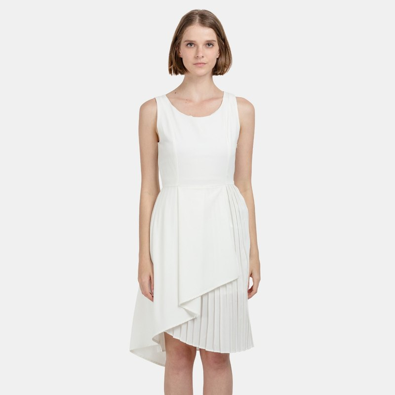 Overlapped Drape and Pleat Dress (White)