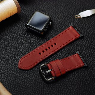 Applewatch leather hand strap strap - wine red [Fu Lie area carved leather] [planted leather]