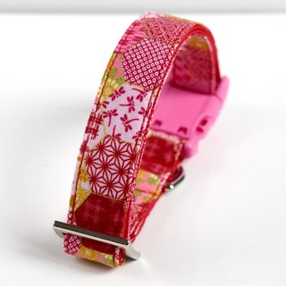 Floral Hemp Leaves Patchwork Dog Collar - Red, Pink- Pink Buckle - Medium Size