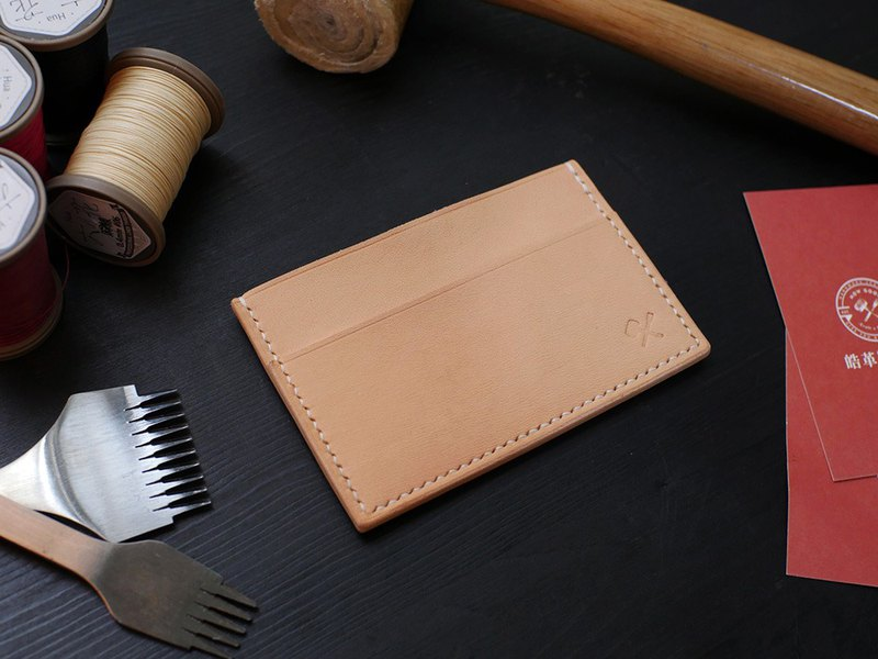 [Under Christmas Promotion] [Hao Leather Co., Ltd.] Leather Simple Card Holder-Original Color