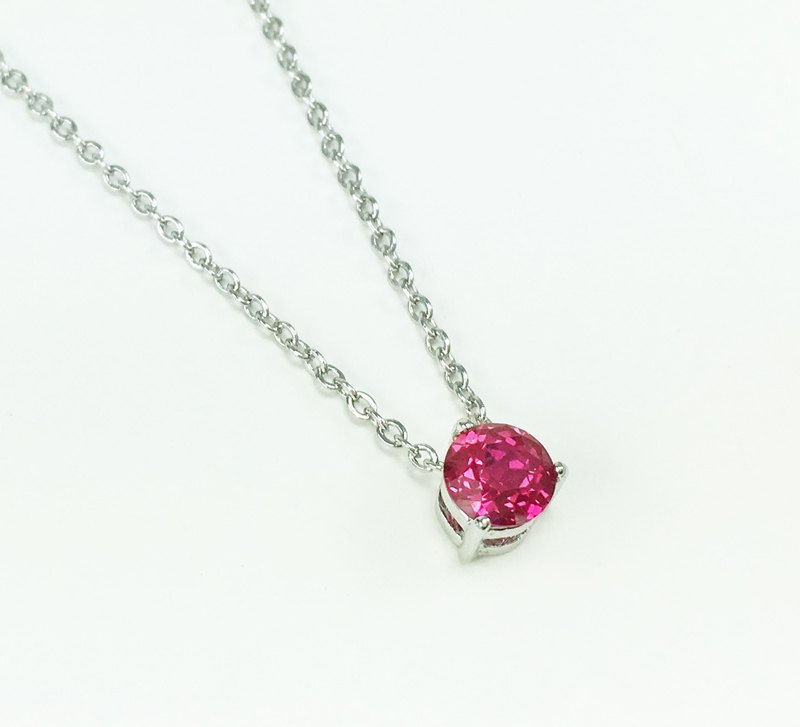 ★ ★ July birthstone silver plated white K RUBY│925 ruby ​​necklace │ constellation birthday gift