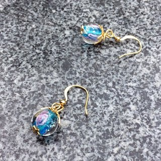 Can be changed clip - glass drop earrings - Mermaid