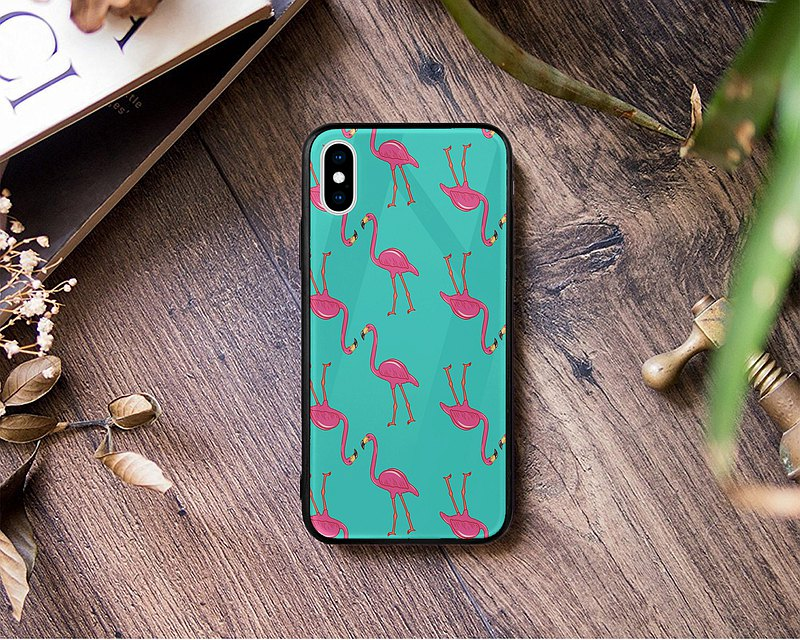 Red Green flamingo bird glass phone case iPhone 12 Pro Samsung Huawei PCJN46-4