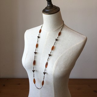 Copper brown glass beads leaf Jiegeng Hua Long Necklace flower & leaf beads long necklace