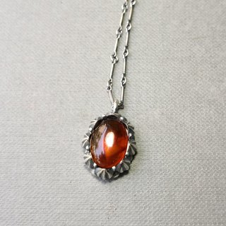 Delia flower vintage silver pendant chain - orange red amber