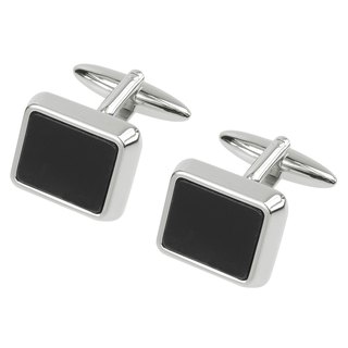 Black Plastic Rectangular Cufflinks