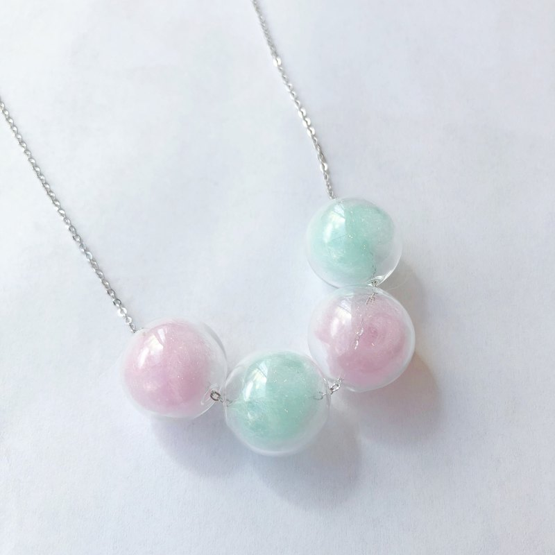 Pink Mint Green Glass Ball Colorful  Necklace Birthday Gift Bridesmaid