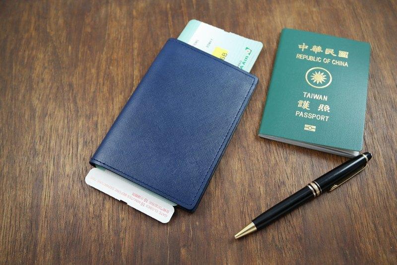 APEE皮手工~護照夾~十字細紋深藍