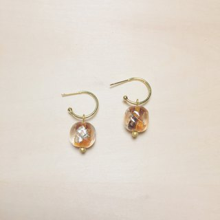 Vintage amber round side square gold and silver foil glass earrings