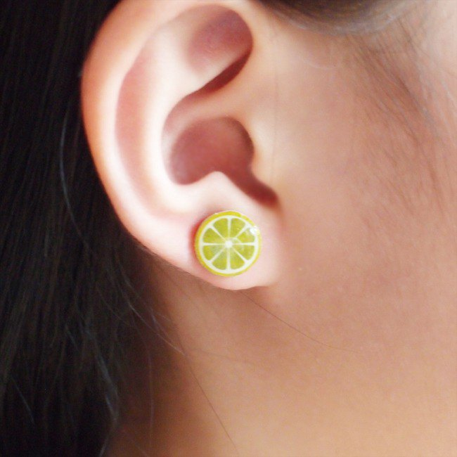 Fox Garden handmade lemon. Lehme earrings / ear pins / earrings / ear clip Christmas gift exchange gifts If you do not specify all the transparent ear clip shipping
