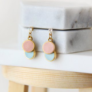 Color small round - pink blue drop earrings [can be changed ear clip]