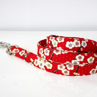 Japanese Pattern Plum Dog Lead Silver
