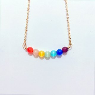 Rainbow Heart Rainbow Love- ◆ necklace short paragraph / artificial opal / clavicle chain / gift custom designs