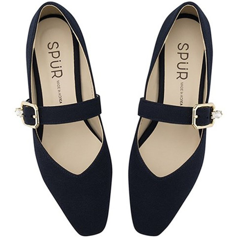 Pre-order – SPUR Jewel buckle maryjanes Coral Flats OS9014 NAVY