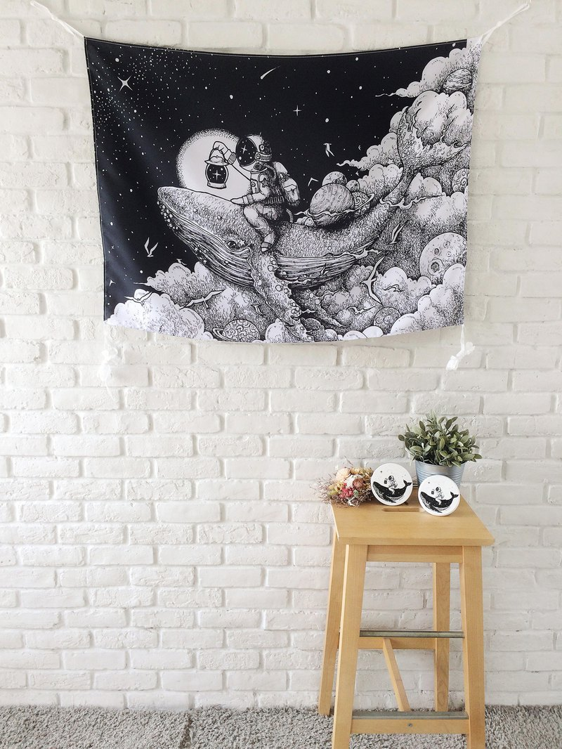 Space ,Whale, Astronaut, Illustration, Wall Tapestry, Art Tapestry, Wall Hanging