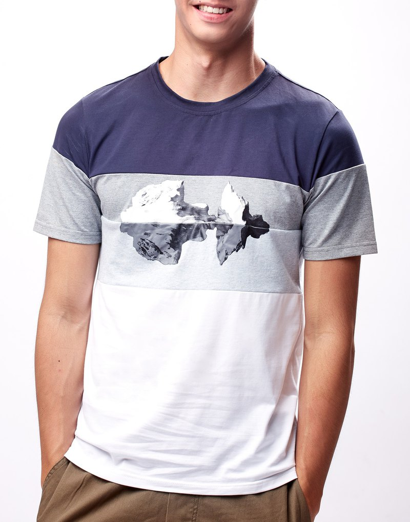 Men Colorblock Printed T-Shirt (Navy Blue/White)