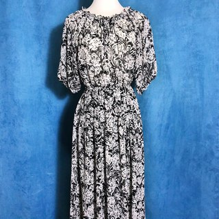 Flower Chiffon Short Sleeve Vintage Dress / Bring back VINTAGE abroad