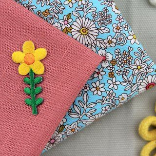 Small yellow flower self-adhesive embroidered cloth stickers - Forest Series