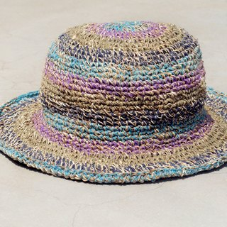 A limited edition of hand-woven cotton cap / knit cap / hat / visor / hat / straw hat - violet color colorful forest fringe