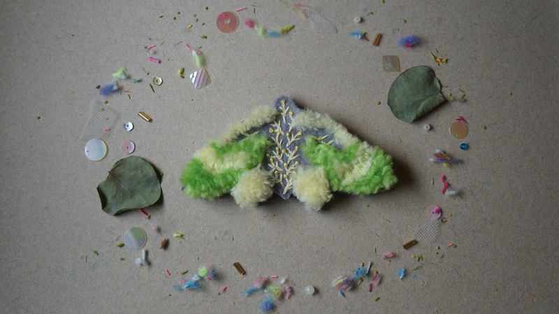 Yellow-green garden embroidery wool moth