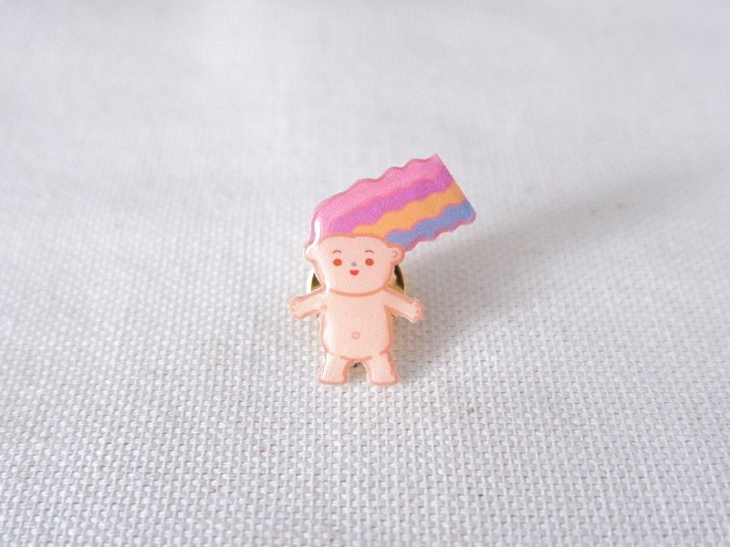 Ppongyong Mermaid Hair Handmade Illustrated Lapel Pin