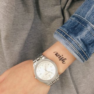 "cottontatt ""wish"" calligraphy temporary tattoo sticker"