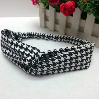 Houndstooth cross section elastic hair band hairband * SK