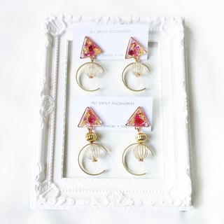 Eternal Flower Series - Small triangular immortality flower Japanese beads earrings / ear clip