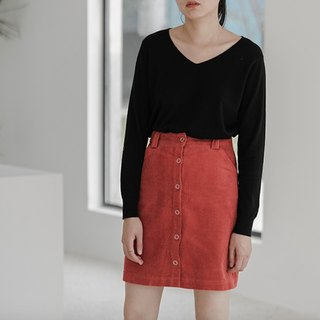 Salmon orange cotton corduroy high waist single-breasted A-line skirt short skirt retro skirt two colors optional